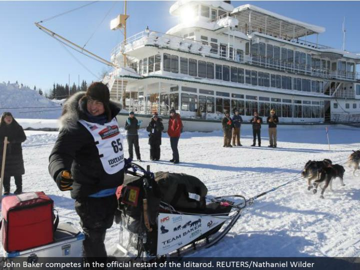 John Baker contends in the authority restart of the Iditarod. REUTERS/Nathaniel Wilder