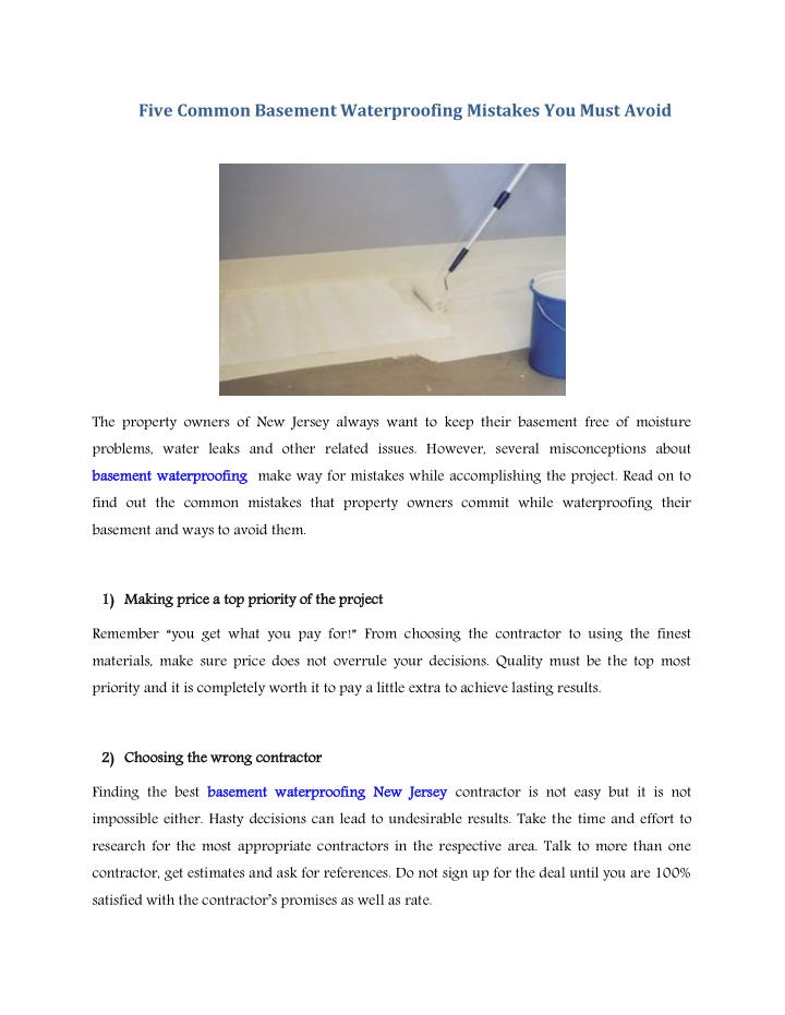 ppt five common basement waterproofing mistakes you must