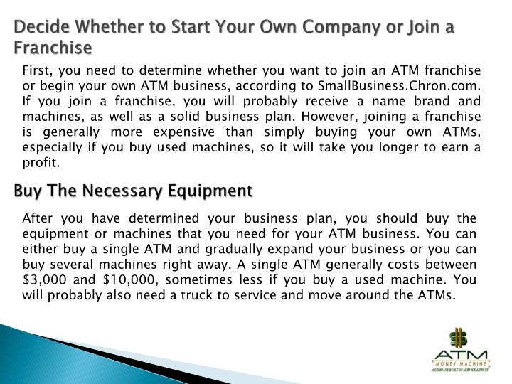 own your own atm machine
