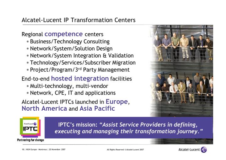 Alcatel-Lucent IP Transformation Centers