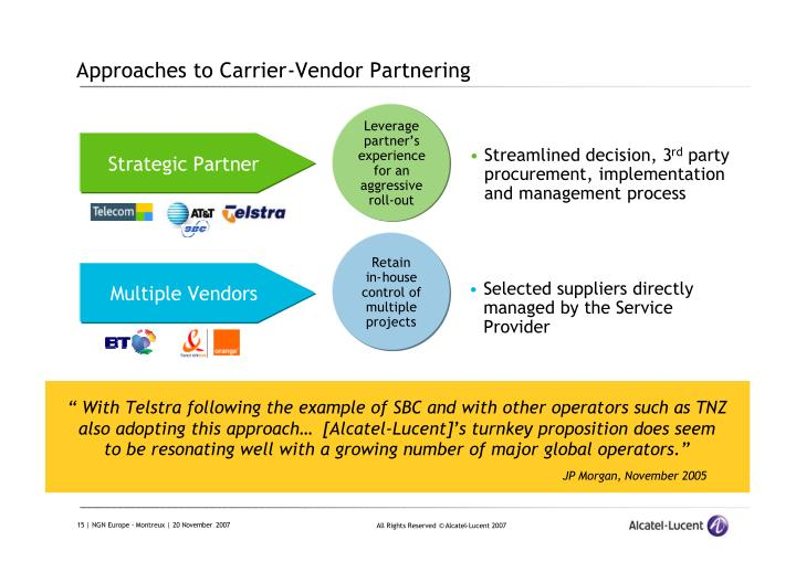 Approaches to Carrier-Vendor Partnering