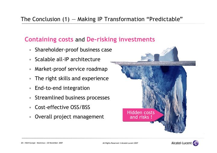 "The Conclusion (1) — Making IP Transformation ""Predictable"""