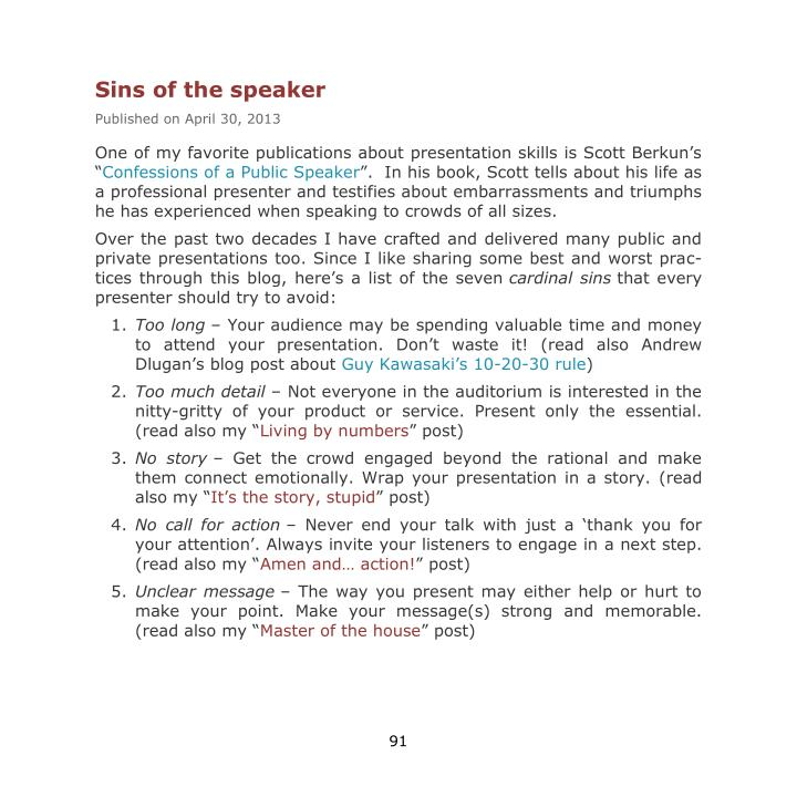 Sins of the speaker