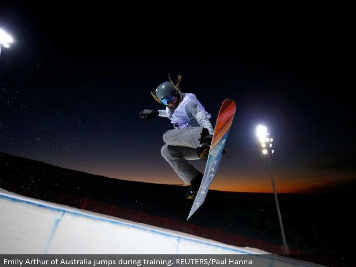 Emily Arthur of Australia hops amid preparing. REUTERS/Paul Hanna
