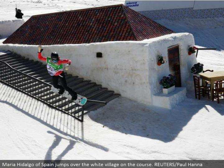 Maria Hidalgo of Spain hops over the white town on the course. REUTERS/Paul Hanna