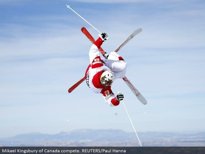 Mikael Kingsbury of Canada contend. REUTERS/Paul Hanna