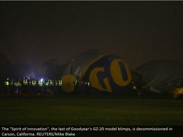 "The ""Soul of Innovation"", the remainder of Goodyear's GZ-20 display dirigibles, is decommissioned in Carson, California. REUTERS/Mike Blake"