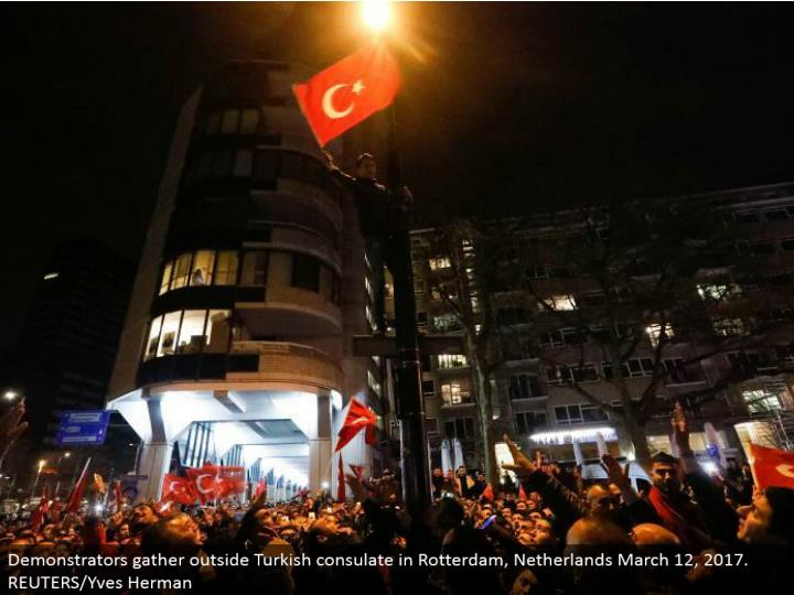 Demonstrators accumulate outside Turkish department in Rotterdam, Netherlands March 12, 2017. REUTERS/Yves Herman