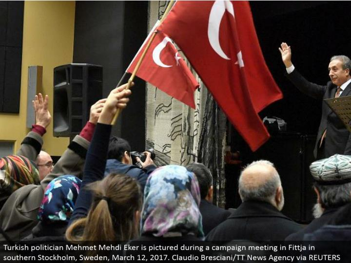 Turkish government official Mehmet Mehdi Eker is envisioned amid a crusade meeting in Fittja in southern Stockholm, Sweden, March 12, 2017. Claudio Bresciani/TT News Agency by means of REUTERS