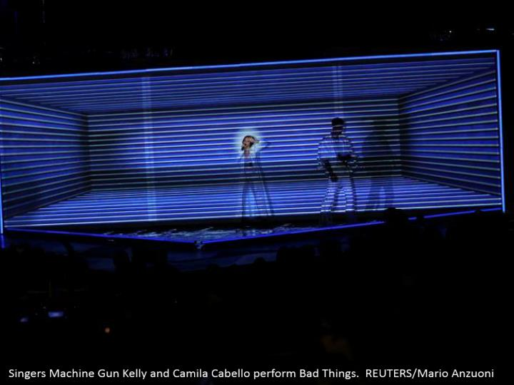 Singers Machine Gun Kelly and Camila Cabello perform Bad Things. REUTERS/Mario Anzuoni
