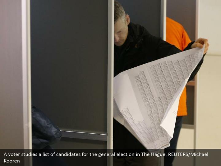 A voter concentrates a rundown of contender for the general decision in The Hague. REUTERS/Michael Kooren