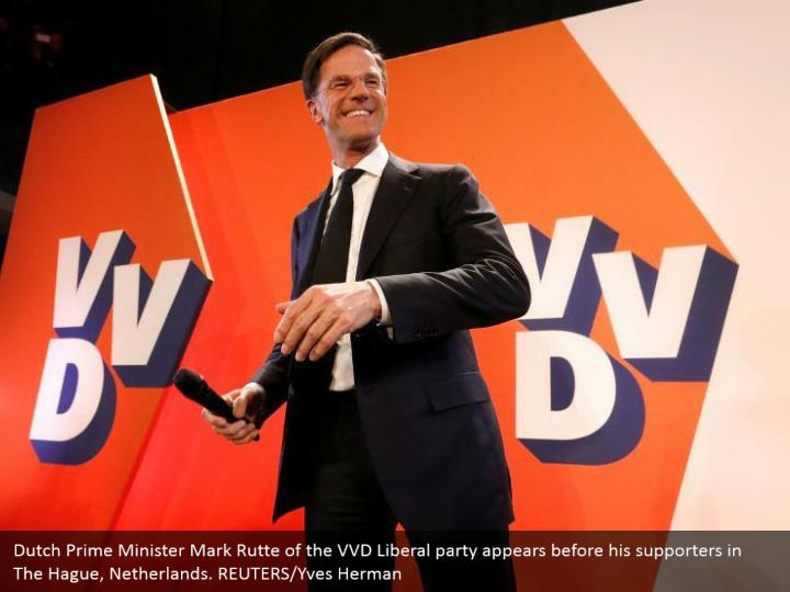Dutch Prime Minister Mark Rutte of the VVD Liberal gathering shows up before his supporters in The Hague, Netherlands. REUTERS/Yves Herman