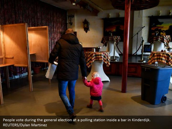 People vote amid the general race at a surveying station inside a bar in Kinderdijk. REUTERS/Dylan Martinez