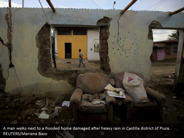 A man strolls by an overwhelmed home harmed after substantial rain in Castilla area of Piura. REUTERS/Mariana Bazo