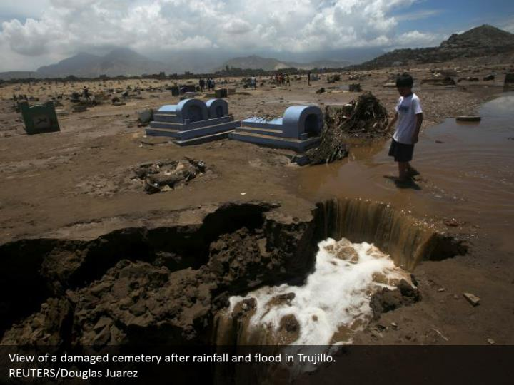 View of a harmed burial ground after precipitation and surge in Trujillo. REUTERS/Douglas Juarez