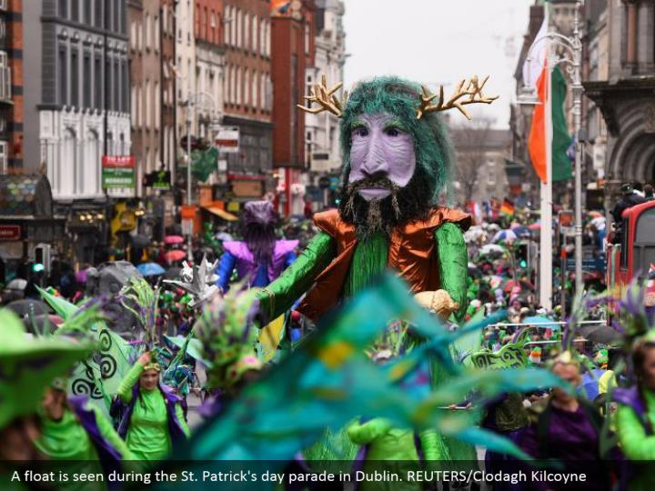 A buoy is seen amid the St. Patrick's day parade in Dublin. REUTERS/Clodagh Kilcoyne