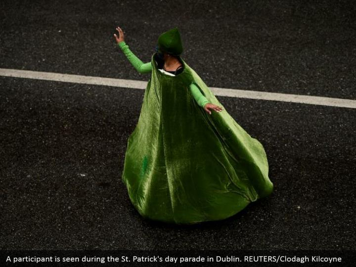 A member is seen amid the St. Patrick's day parade in Dublin. REUTERS/Clodagh Kilcoyne