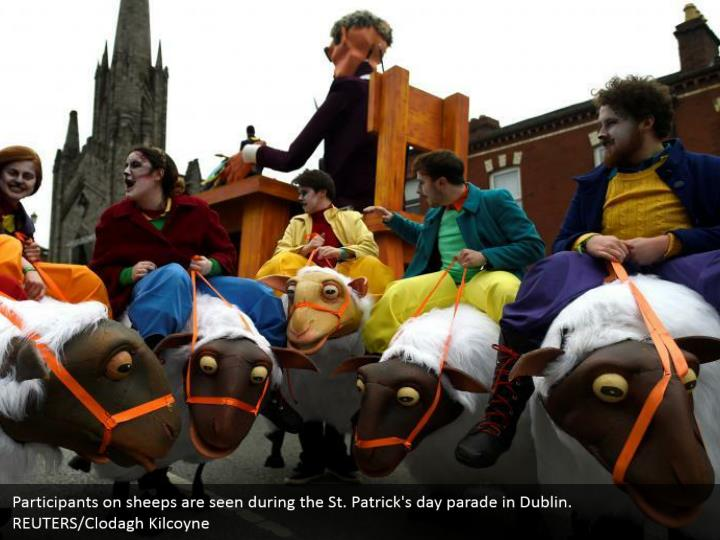 Participants on sheeps are seen amid the St. Patrick's day parade in Dublin. REUTERS/Clodagh Kilcoyne