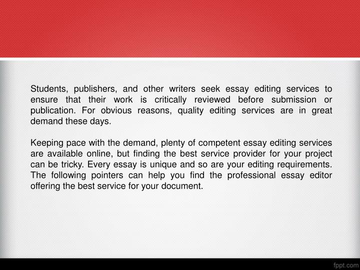 editing an essay powerpoint Business editing and proofreading services - available 24/7 from the professionals at scribendi.