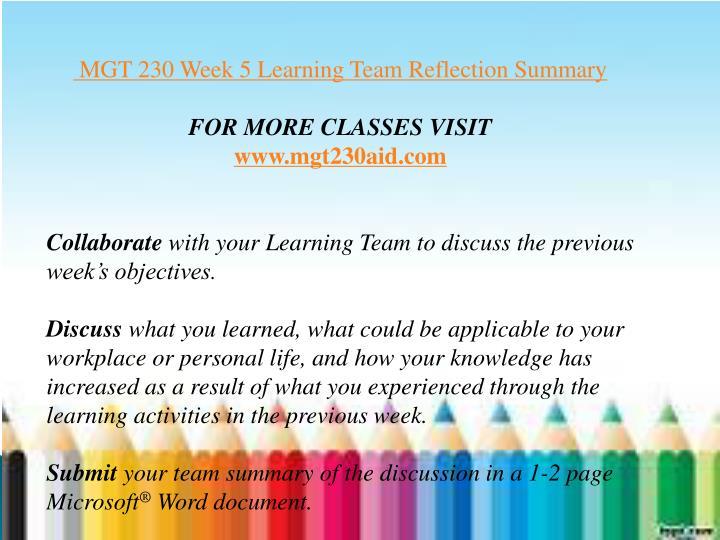 mgt 230 week 3 reflection summary