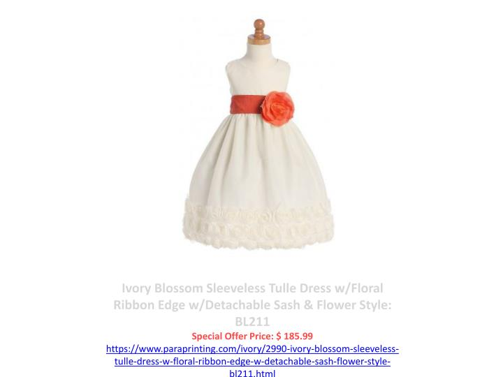 Ivory Blossom Sleeveless Tulle Dress w/Floral Ribbon Edge w/Detachable Sash & Flower Style: BL211