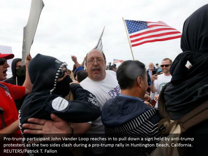 Pro-trump participant John Vander Loop reaches in to pull down a sign held by anti-trump protesters as the two sides clash during a pro-trump rally in Huntington Beach, California. REUTERS/Patrick T. Fallon