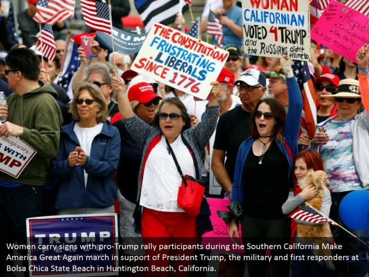 Women carry signs with pro-Trump rally participants during the Southern California Make America Great Again march in support of President Trump, the military and first responders at Bolsa Chica State Beach in Huntington Beach, California.