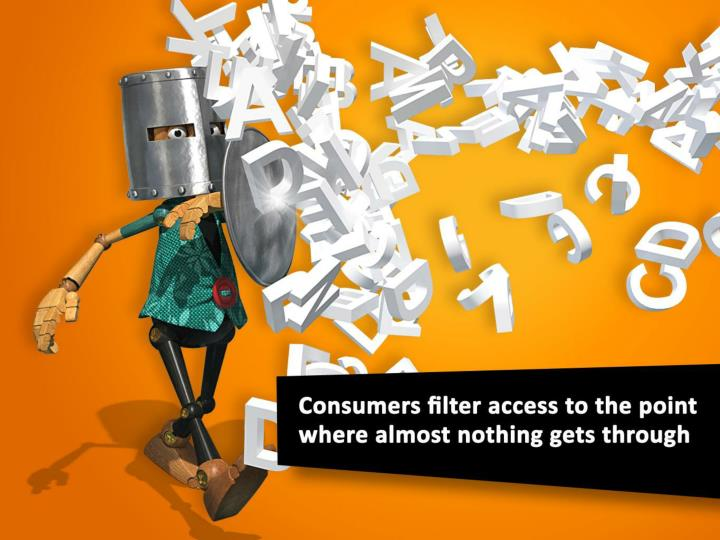 Consumers filter access to the point where almost nothing gets through.