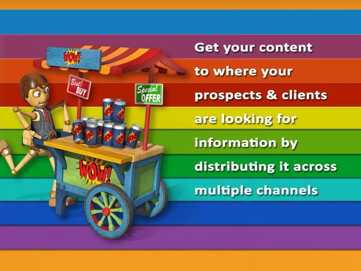 Get your content to where your prospects and clients are looking for information by distributing it across multiple channels.
