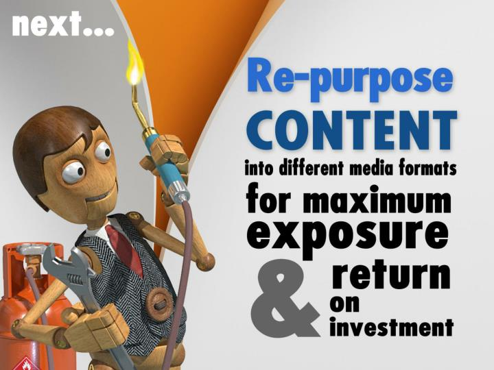 Re-purpose your content into different media formats for maximum exposure and return on investment:
