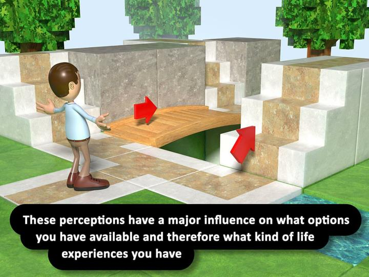 These perceptions have a major influence on what options you have available and therefore what kind of life experiences you have.