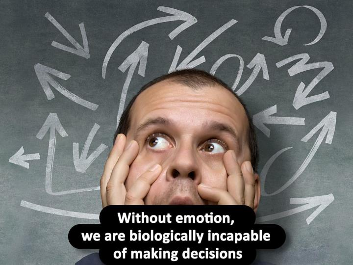 Without emotion, we are biologically incapable of making decisions.