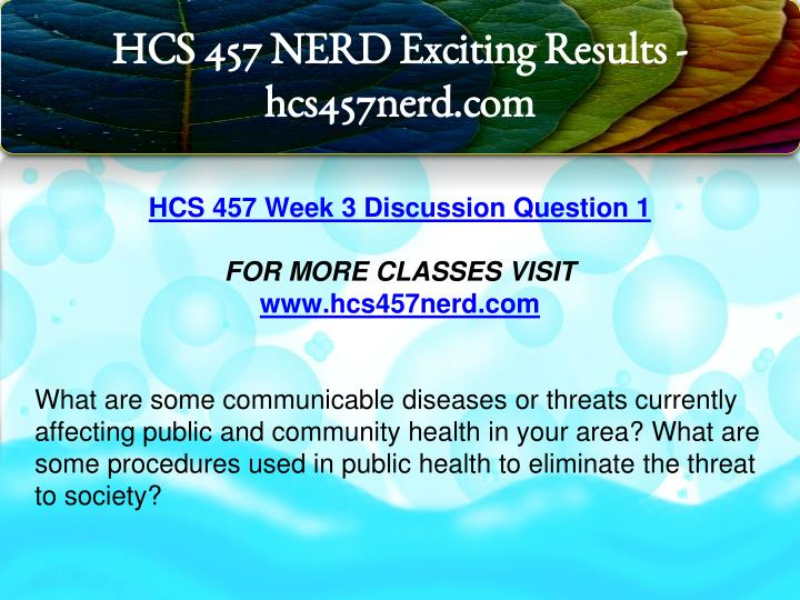 hcs 457 public community health complete Download: .