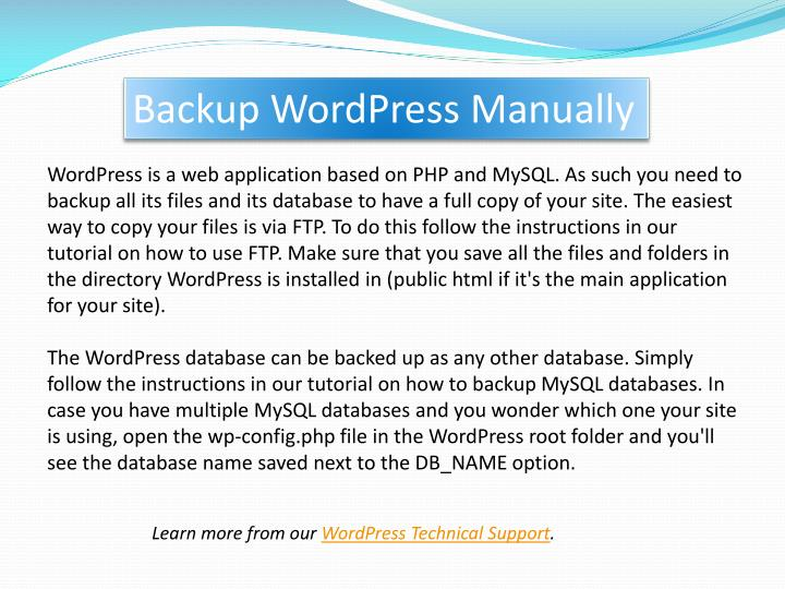 Backup wordpress manually
