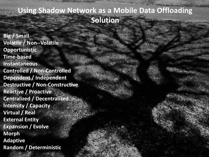 Using Shadow Network as a Mobile Data Offloading Solution