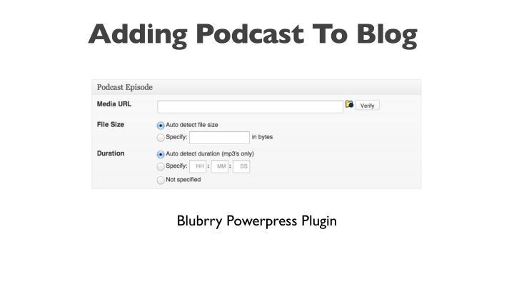 Adding Podcast To Blog