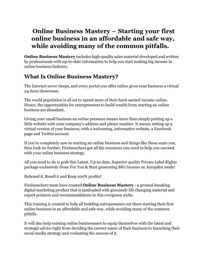 Online business mastery starting your first