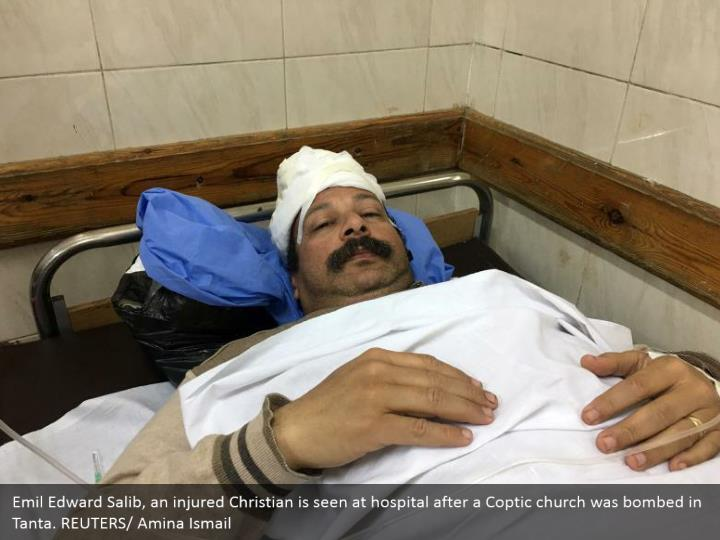 Emil Edward Salib, an injured Christian is seen at hospital after a Coptic church was bombed in Tanta. REUTERS/ Amina Ismail