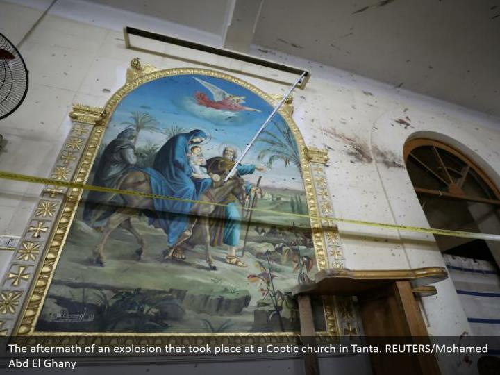 The aftermath of an explosion that took place at a Coptic church in Tanta. REUTERS/Mohamed Abd El Ghany