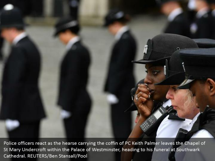 Police officers react as the hearse carrying the coffin of PC Keith Palmer leaves the Chapel of St Mary Undercroft within the Palace of Westminster, heading to his funeral at Southwark Cathedral. REUTERS/Ben Stansall/Pool