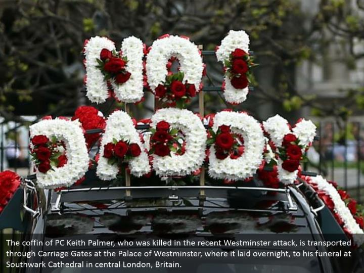 The coffin of pc keith palmer who was killed