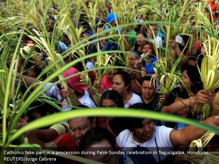 Catholics take part in a procession during Palm Sunday celebration in Tegucigalpa, Honduras. REUTERS/Jorge Cabrera