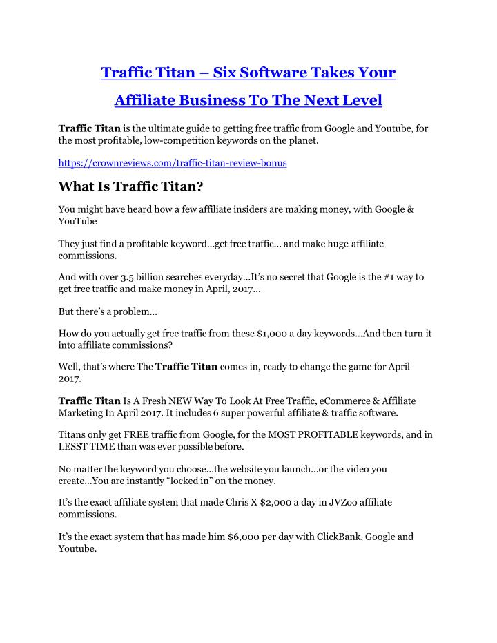 Traffic titan six software takes your affiliate