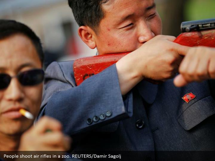 People shoot air rifles in a zoo. REUTERS/Damir Sagolj