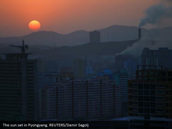 The sun set in Pyongyang. REUTERS/Damir Sagolj
