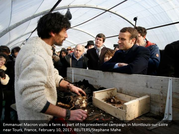 Emmanuel Macron visits a farm as part of his presidential campaign in Montlouis-sur-Loire near Tours, France, February 10, 2017. REUTERS/Stephane Mahe