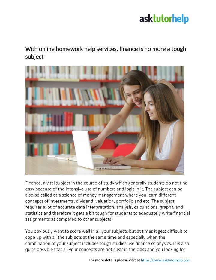 Finance homework help for students