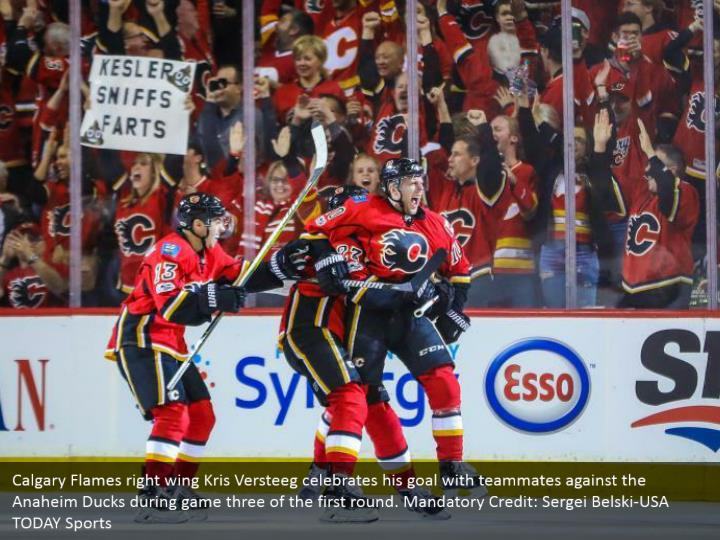 Calgary Flames right wing Kris Versteeg celebrates his goal with teammates against the Anaheim Ducks during game three of the first round. Mandatory Credit: Sergei Belski-USA TODAY Sports