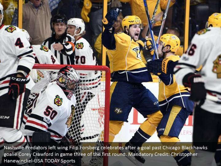 Nashville Predators left wing Filip Forsberg celebrates after a goal past Chicago Blackhawks goalie Corey Crawford in game three of the first round. Mandatory Credit: Christopher Hanewinckel-USA TODAY Sports