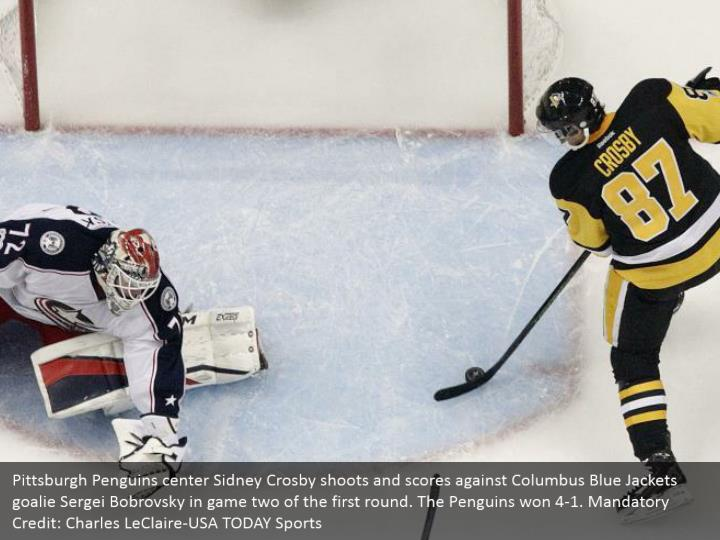 Pittsburgh Penguins center Sidney Crosby shoots and scores against Columbus Blue Jackets goalie Sergei Bobrovsky in game two of the first round. The Penguins won 4-1. Mandatory Credit: Charles LeClaire-USA TODAY Sports